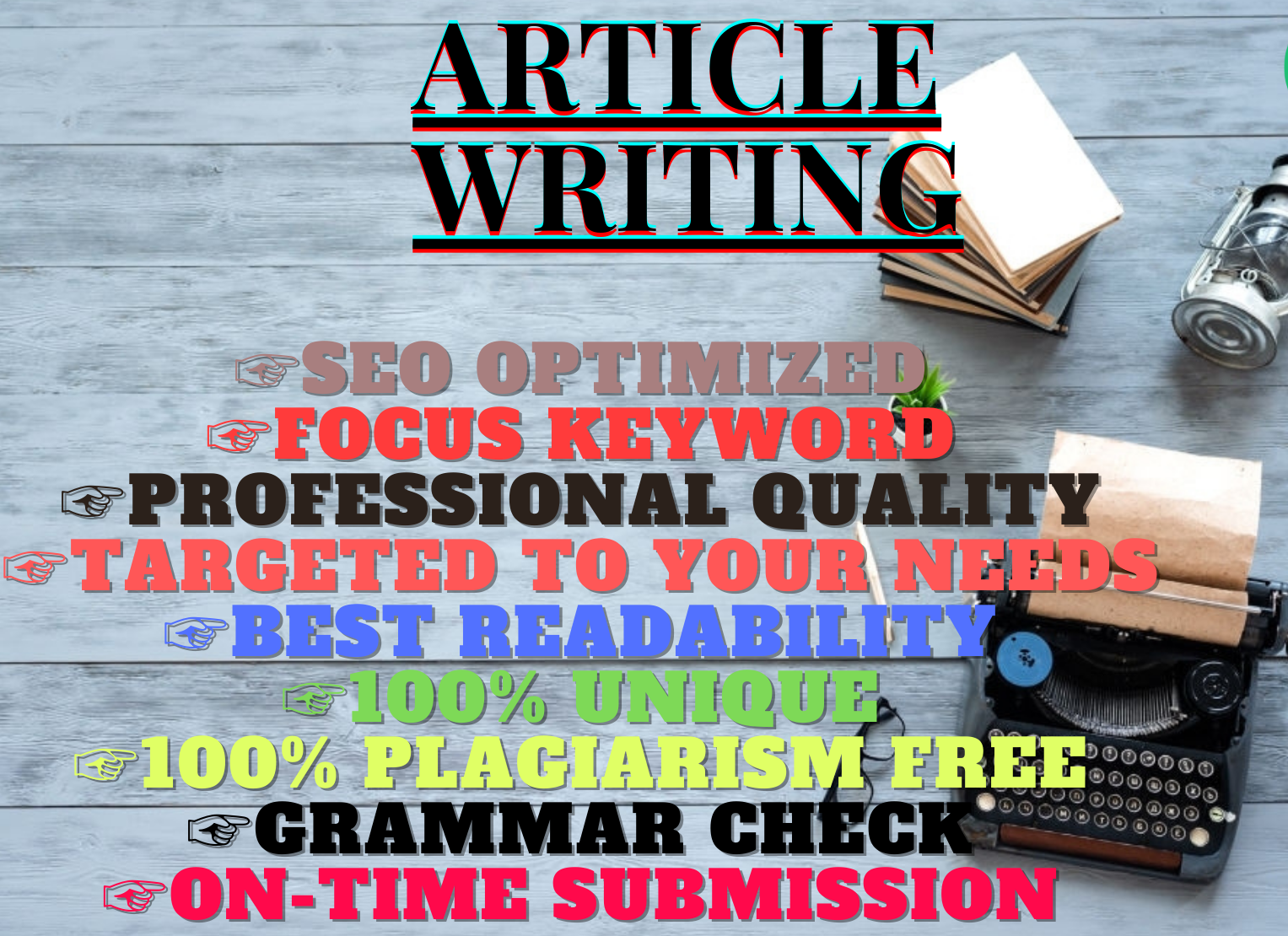 I will write well researched SEO optimized 500words blog posts and articles