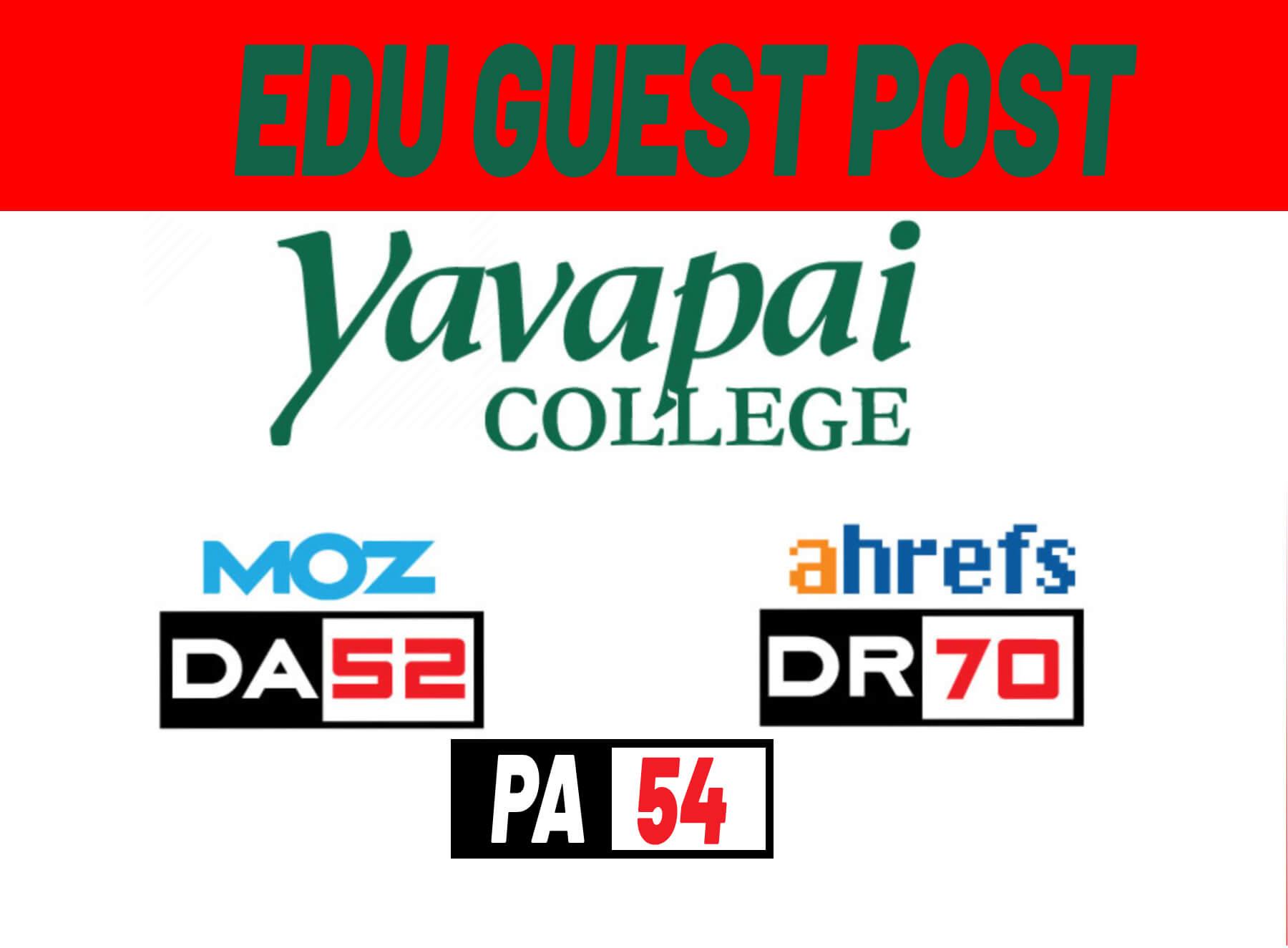 Do-Follow EDU Guest Post Backlink on YC-Yavapai College- DA52,  DR70, PA54