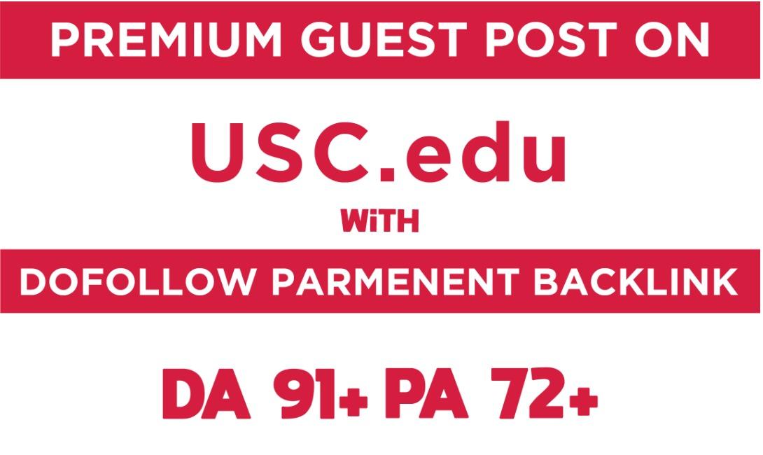 I will make 150 guest post on univesity of southern california da91 pa72 doollow blog backlink