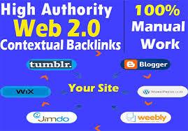 provide 10 web2.0 blog DA 70 - 100 contextual backlinks