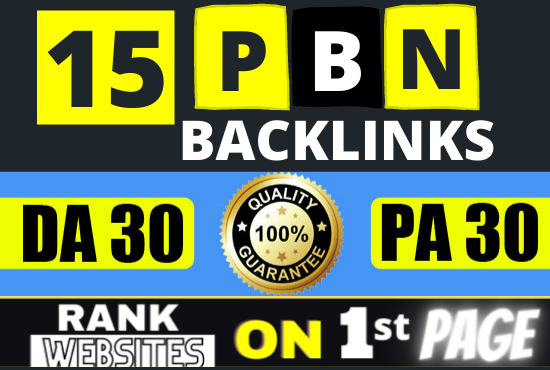 Create 15 PBN Backlinks from High DA PA + Homepage Powerful Links for Ranking