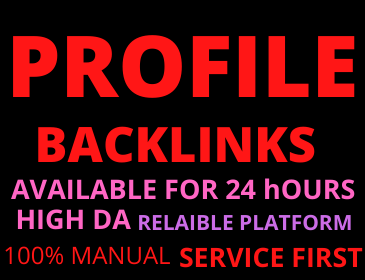 20 Profile Backlinks manual DA 50+ Permanent unique link building high authority