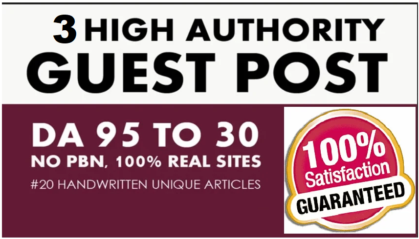 write and publish 3 guest post with high da at dofollow and no follow sites
