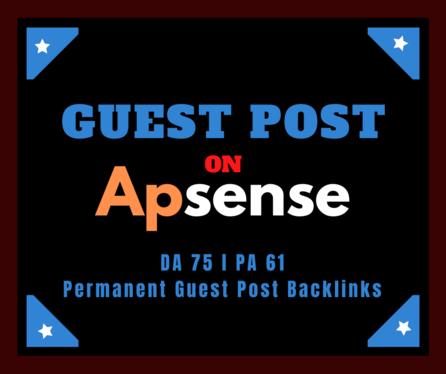 Provide you Permanent guest post backlinks from Apsense DA 75