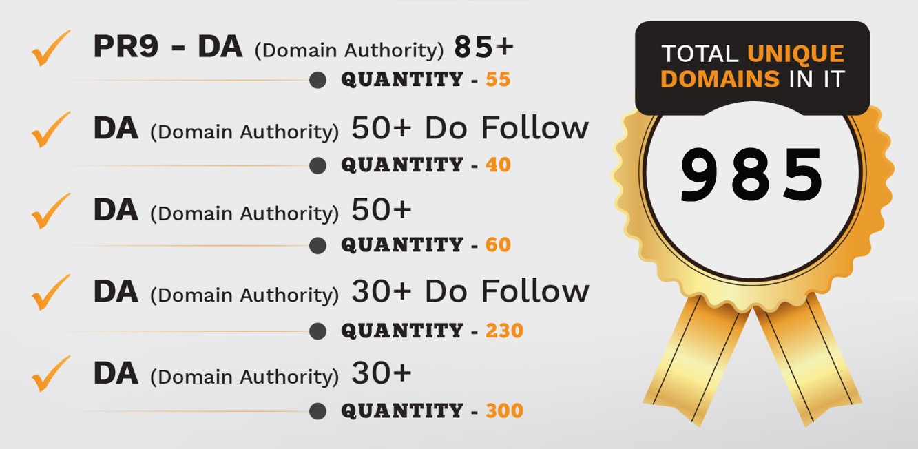 85 PR9 - DA Domain Authority 95+ Backlinks