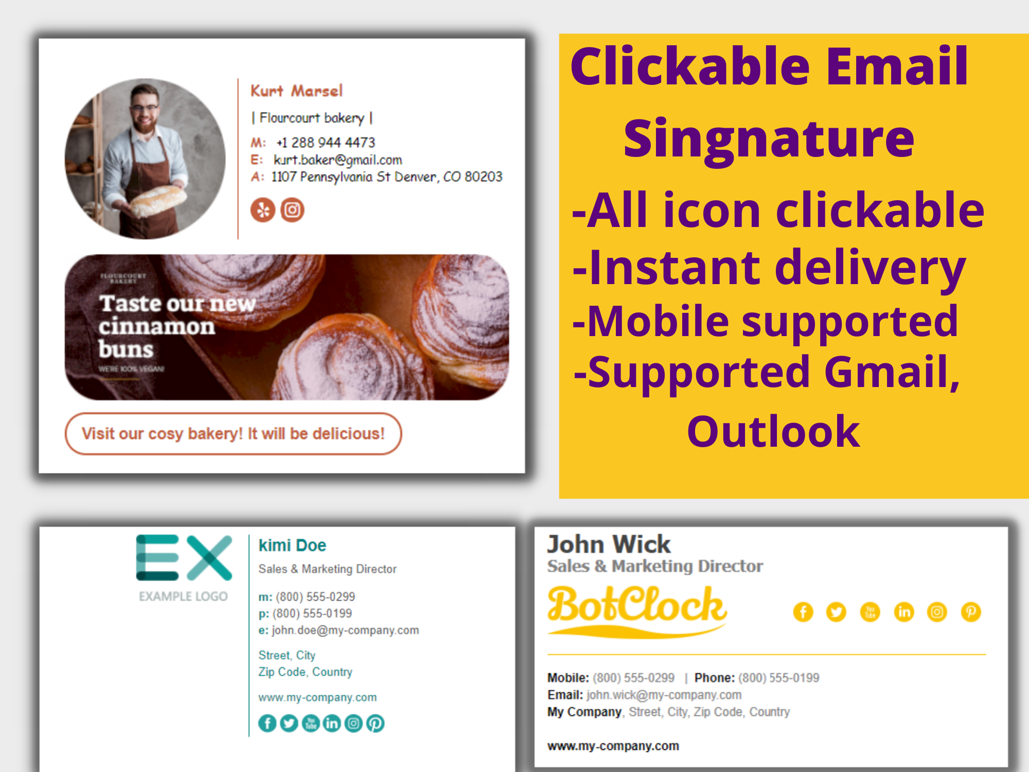 I Will Design Professional Looking Clickable HTML Email Signature,  Outlook Signature