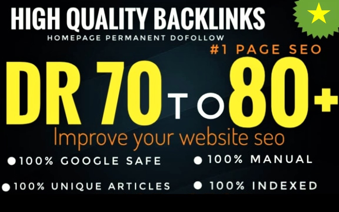 I will make 40 high quality DR 50 to 70plus manual seo dofollow backlinks