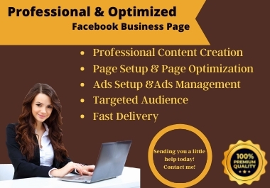 I will organize and optimize your Facebook business page About This Gig