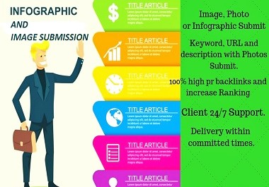 I will design 10 infographics and 40 images and submit them on HQ DA and PA sharing sites.