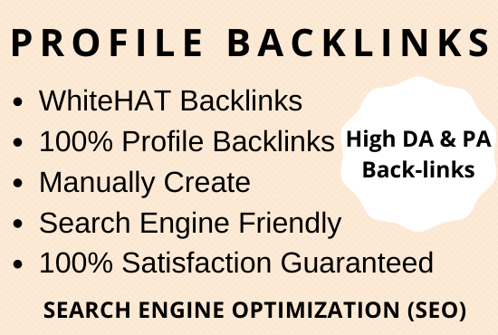 Provide 30 High Authority Profile Backlinks Manually