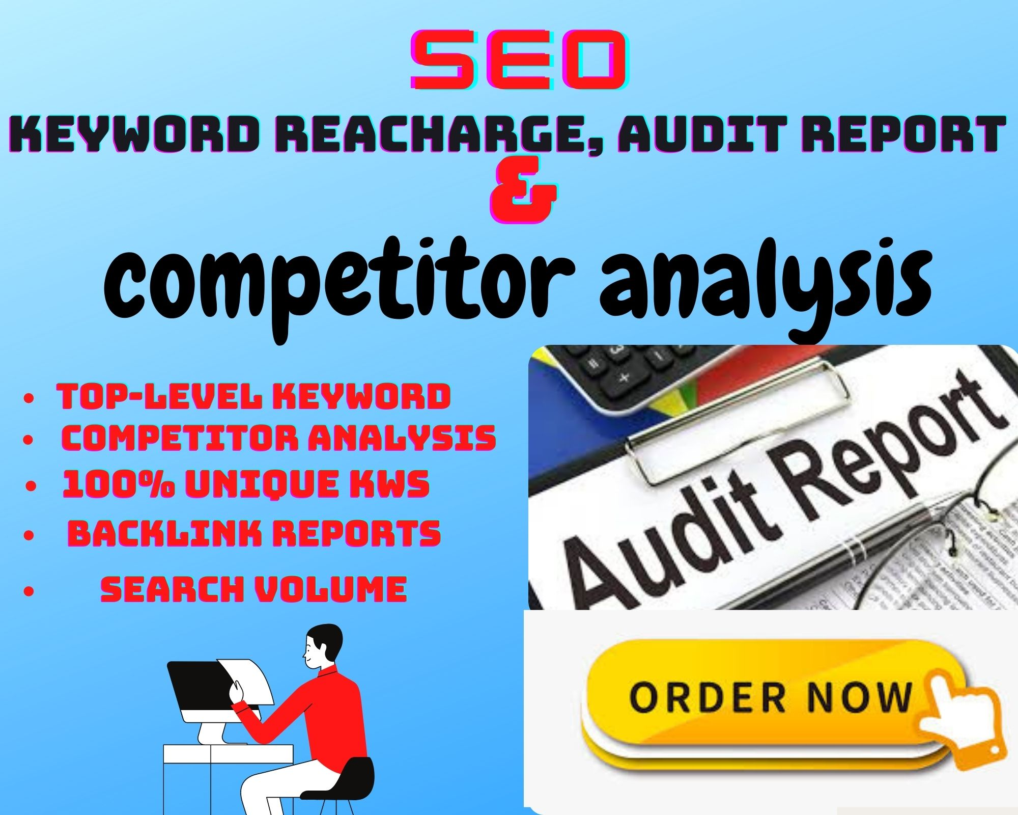 I will create full SEO Audit report,  Keyword Research & Competitor Analysis