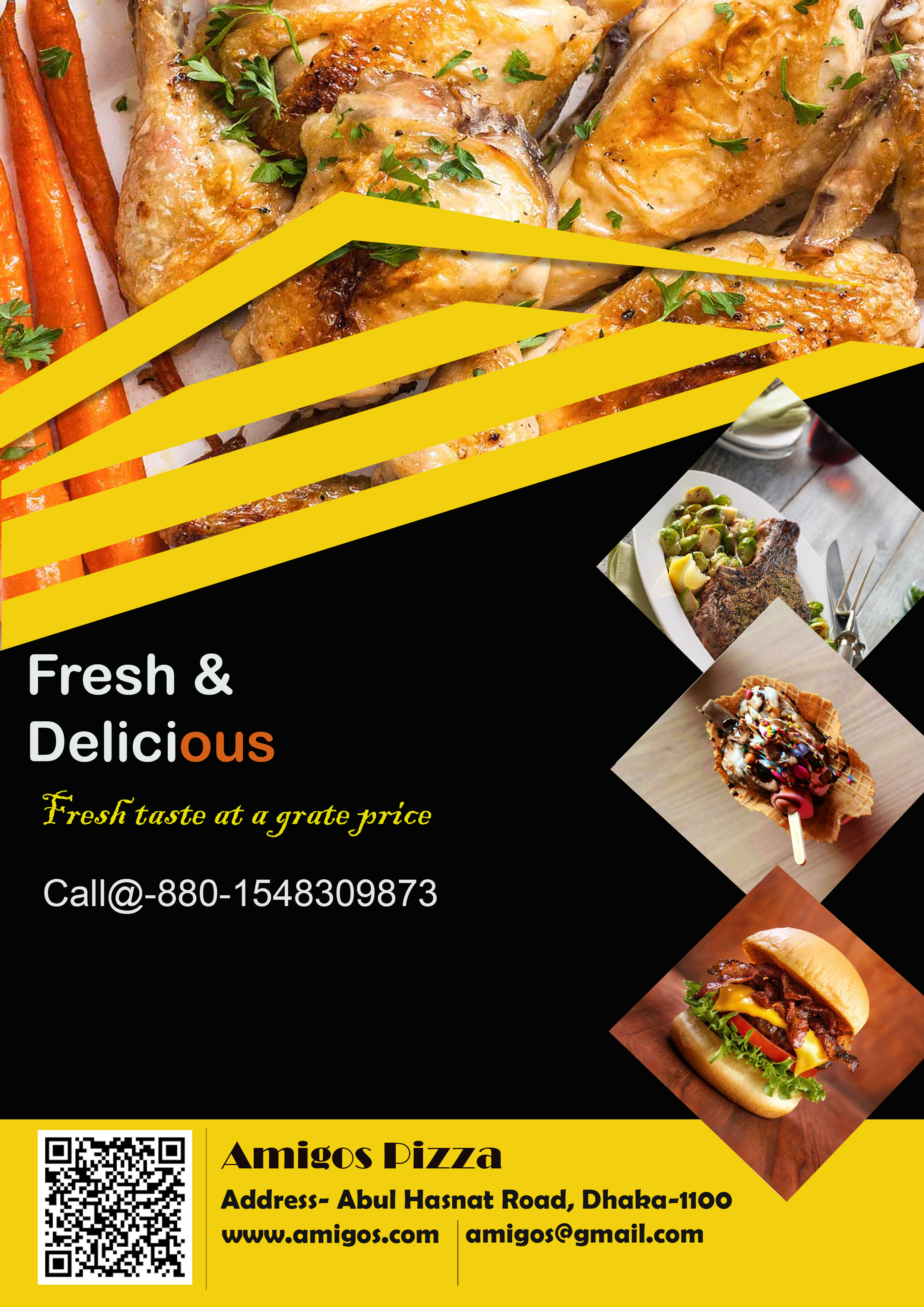 I will design aesthetic food or restaurant flyer,  poster,  banner,  menu