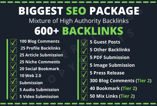 I will Build off page SEO package 600 backlinks