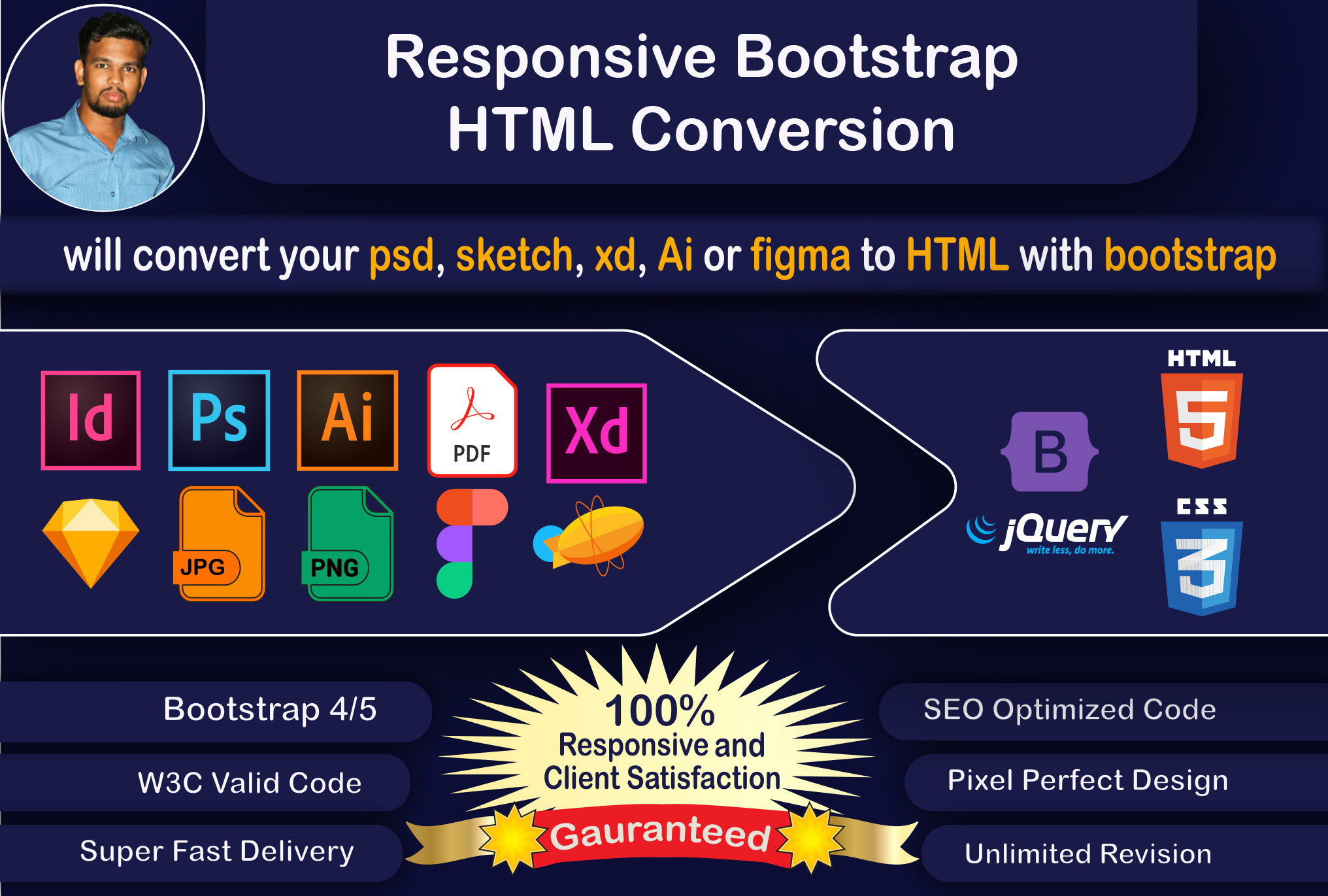 I will create website or convert your PSD,  sketch,  xd,  ai or figma to HTML with bootstrap