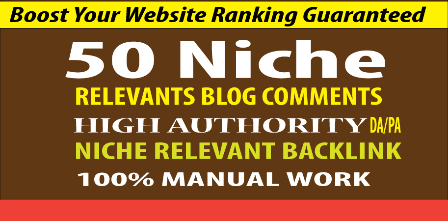I will do provide 50 Niche Relevant Blog comment high quality link building backlinks