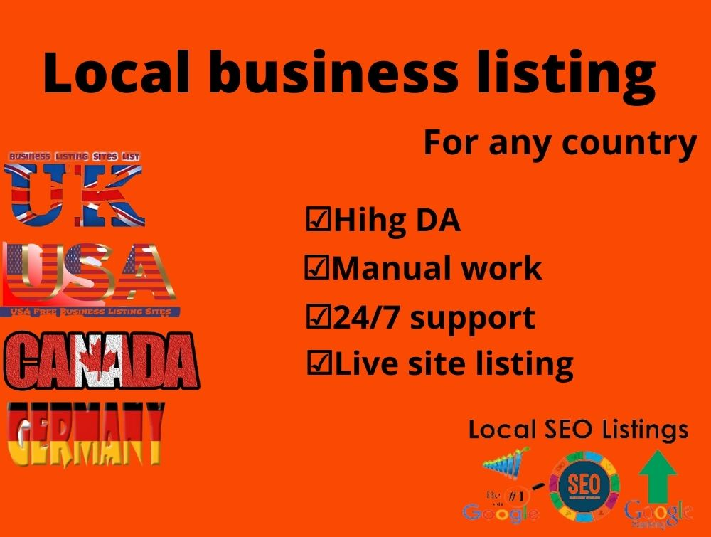 I will create 200 Manually local business listing for any country