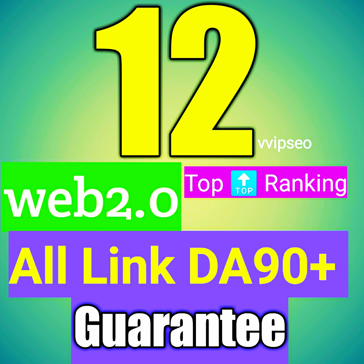 Web2.0 all DA90+ guarantee Do follow 12 back links white hat link building service for top ranking