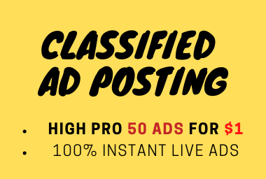 I will post your ads on top ranked classified ad posting sites