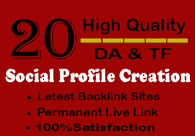 I Will Do 20 HQ Social Profile Creation For Your Website