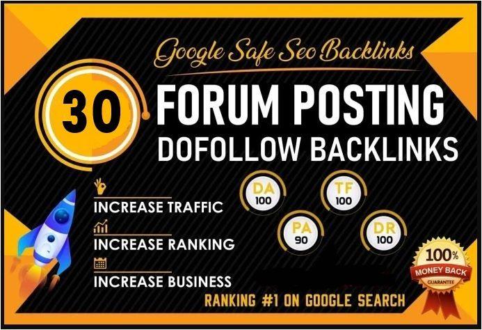 Make Manual 30 High Da/PA/TF/CF Premuim Authority Forum Posting Backlinks SEO Service