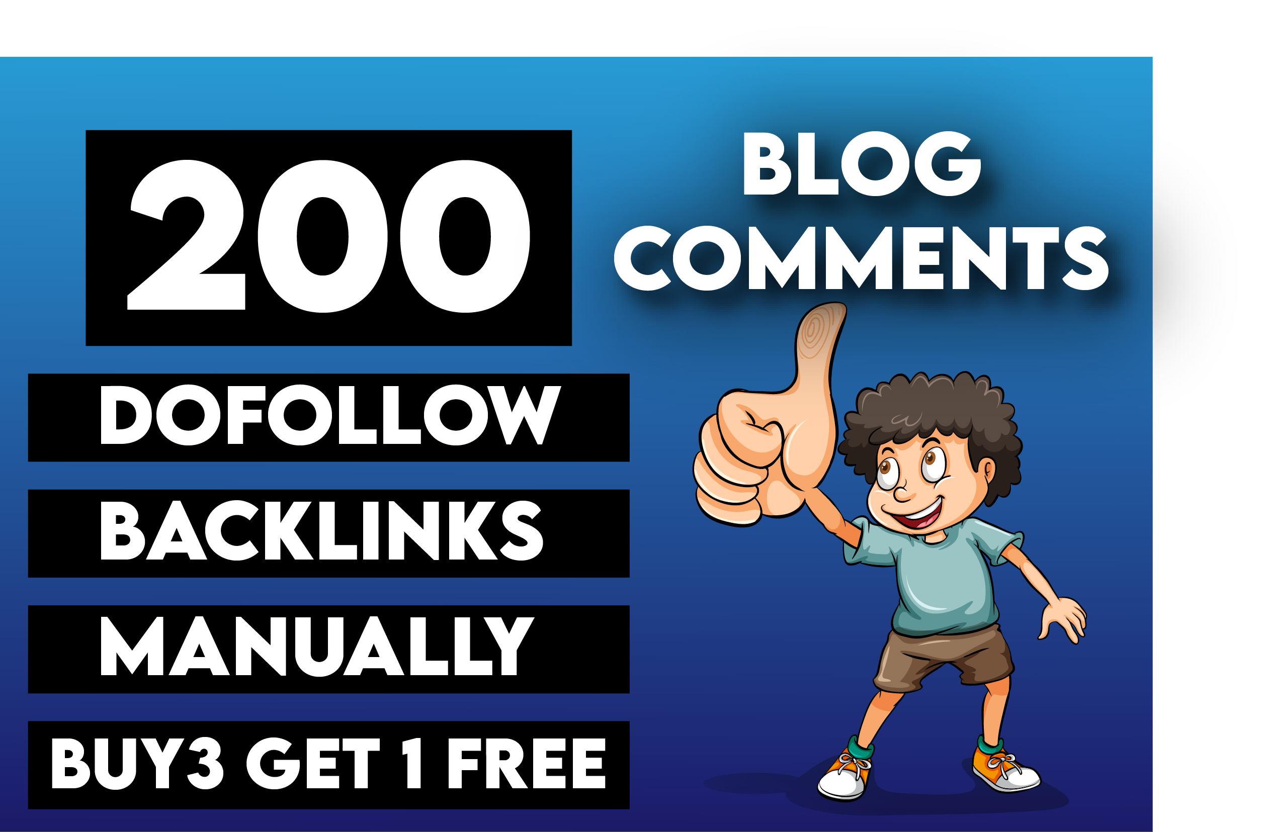 I will do manually 200 dofollow Unique Domain blog comment backlinks on High DA
