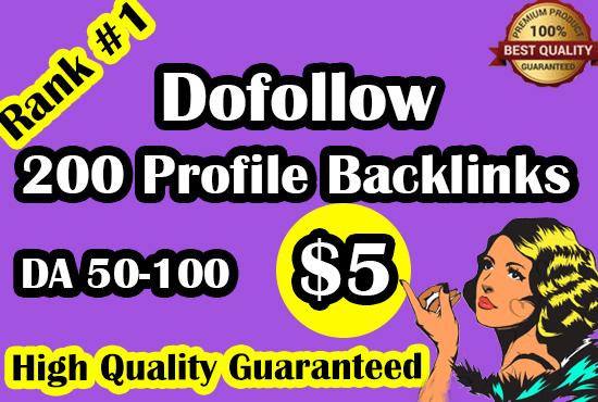 I will do 100 high DA authority SEO profile backlinks