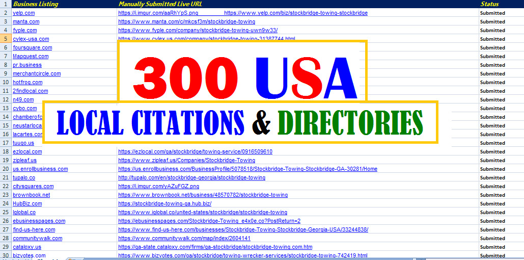 I will list your business in 300 USA local citations and directories