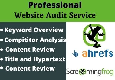 Professional website SEO audit report with screaming frog and ahrefs