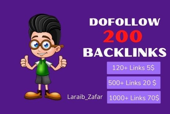 I will build 200 dofollow backlinks 100 manuall work