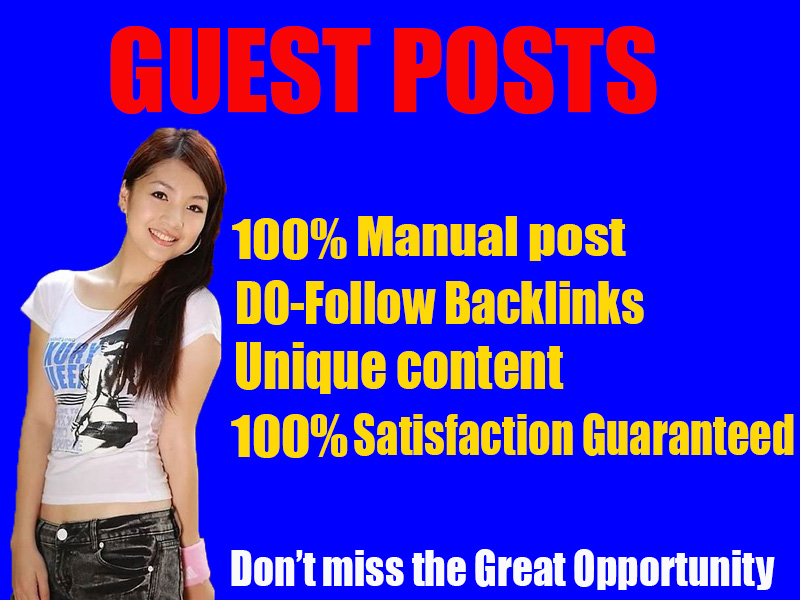 I will do any niche related High-Quality Guest posting with linkbuilding