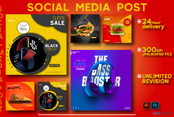 I will do modern social media post and story design templates
