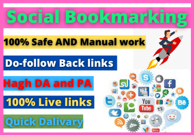 I will provide Manually top 50+ social bookmarking on 85+ da and 75+pa backlinks service