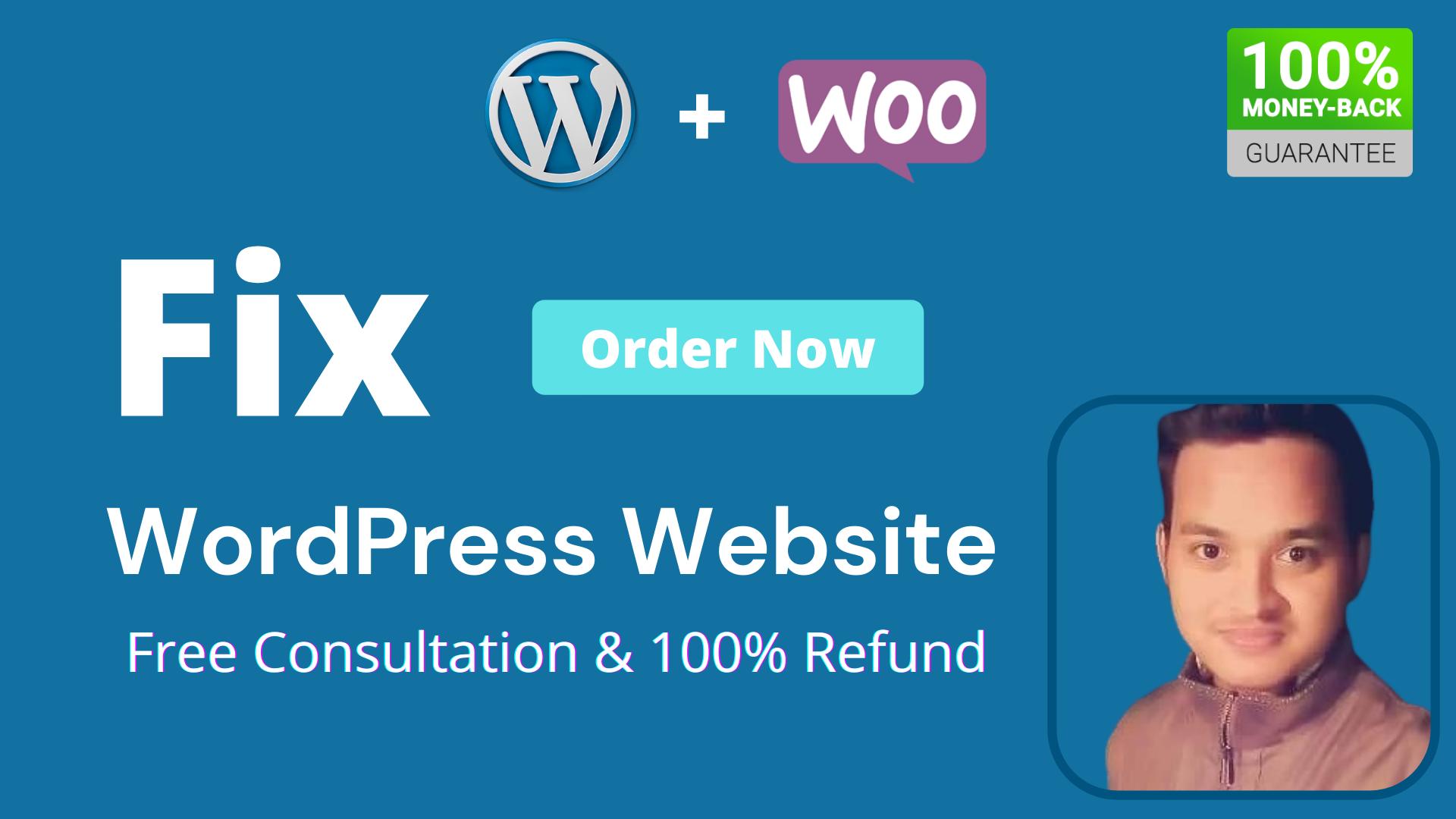 I will fix wordpress website issues and woocommerce errors