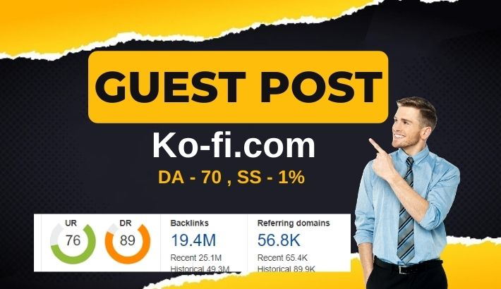 Write and publish Dofollow Guest Post on Ko-fi.com - DA 70