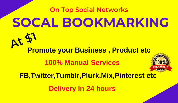 20 Live Social Bookmarking links in 24 hours on top bookmark sites