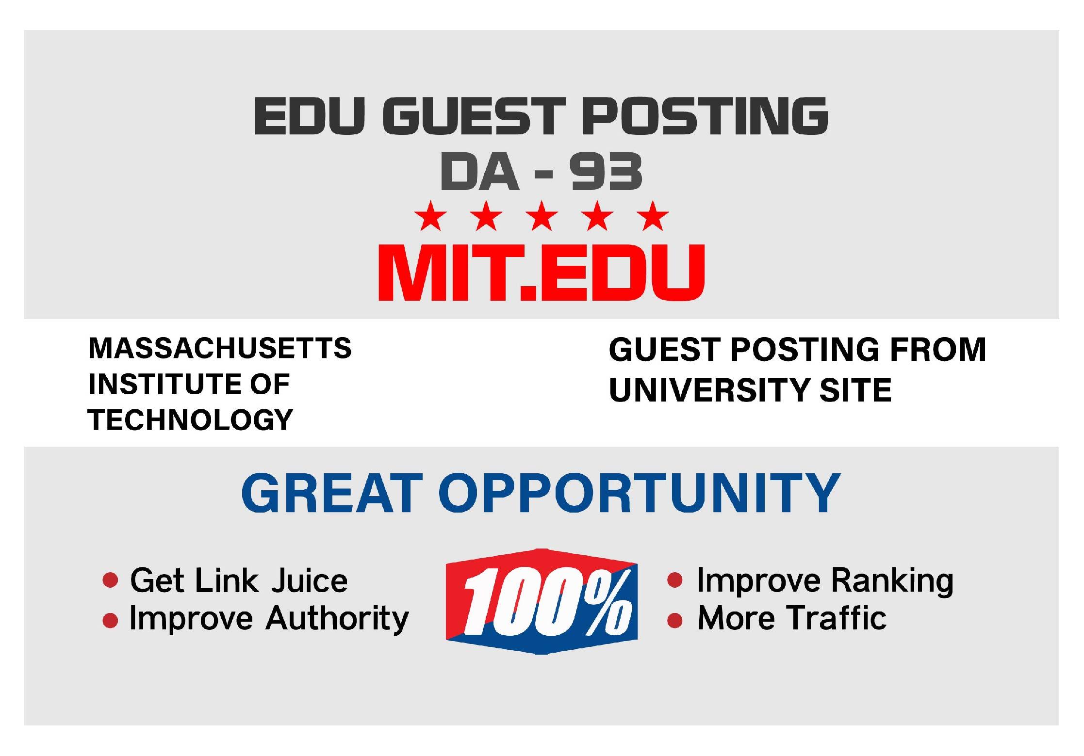 I wil publish MIT edu DA 93 High Quality guest post
