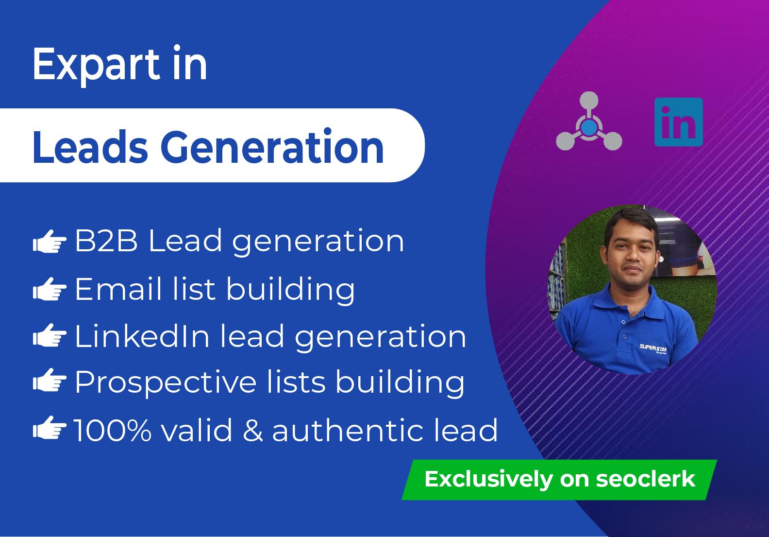 I will do 100 prospective B2B and LinkedIn lead generation manually