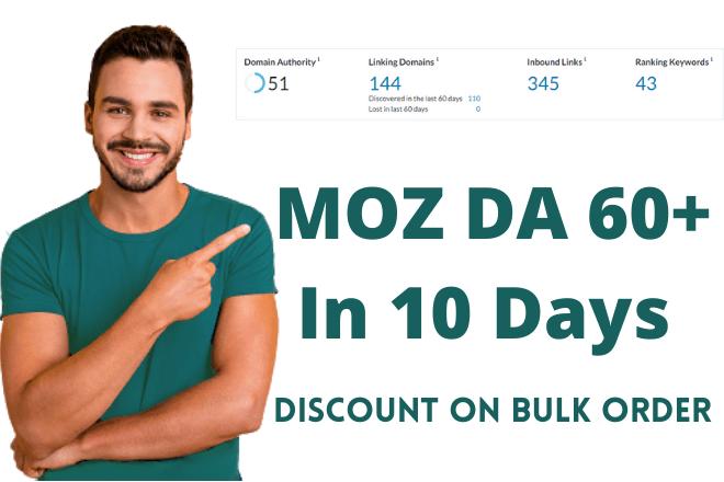 I will Increase Moz DA 60+ in 10 days