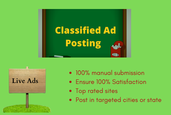 I Will Do 100+ Classified Ads Posting on Top Rated Sites