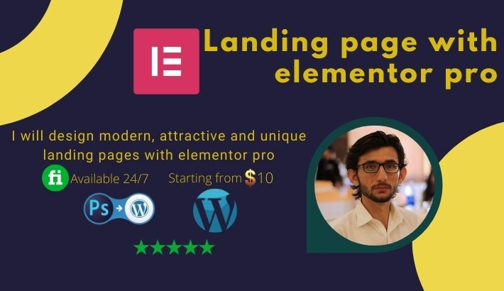I will design a unique wordpress landing page with elementor pro