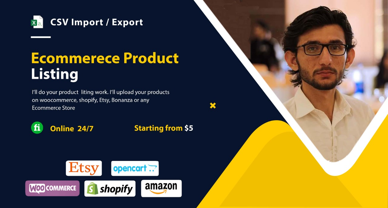 I will export and upload products on woocommerce,  shopify or any ecommerce store