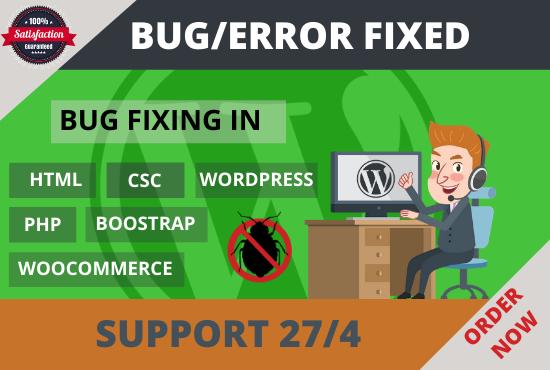 I will fix your wordpress website bug or error just 1 hour