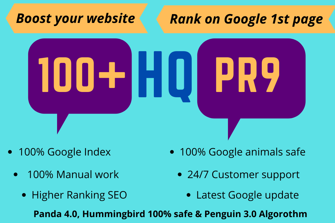 Get 100+ High Quality PR9 Backlinks for boost your Google ranking