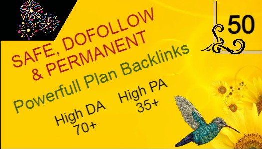 Build Powerfull 50+ Backlink with 70+ Da 35+ PA DOFOLLOW with all of unique websile link