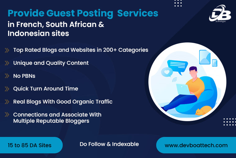 Provide guest posting services in French,  south African,  and Indonesian sites