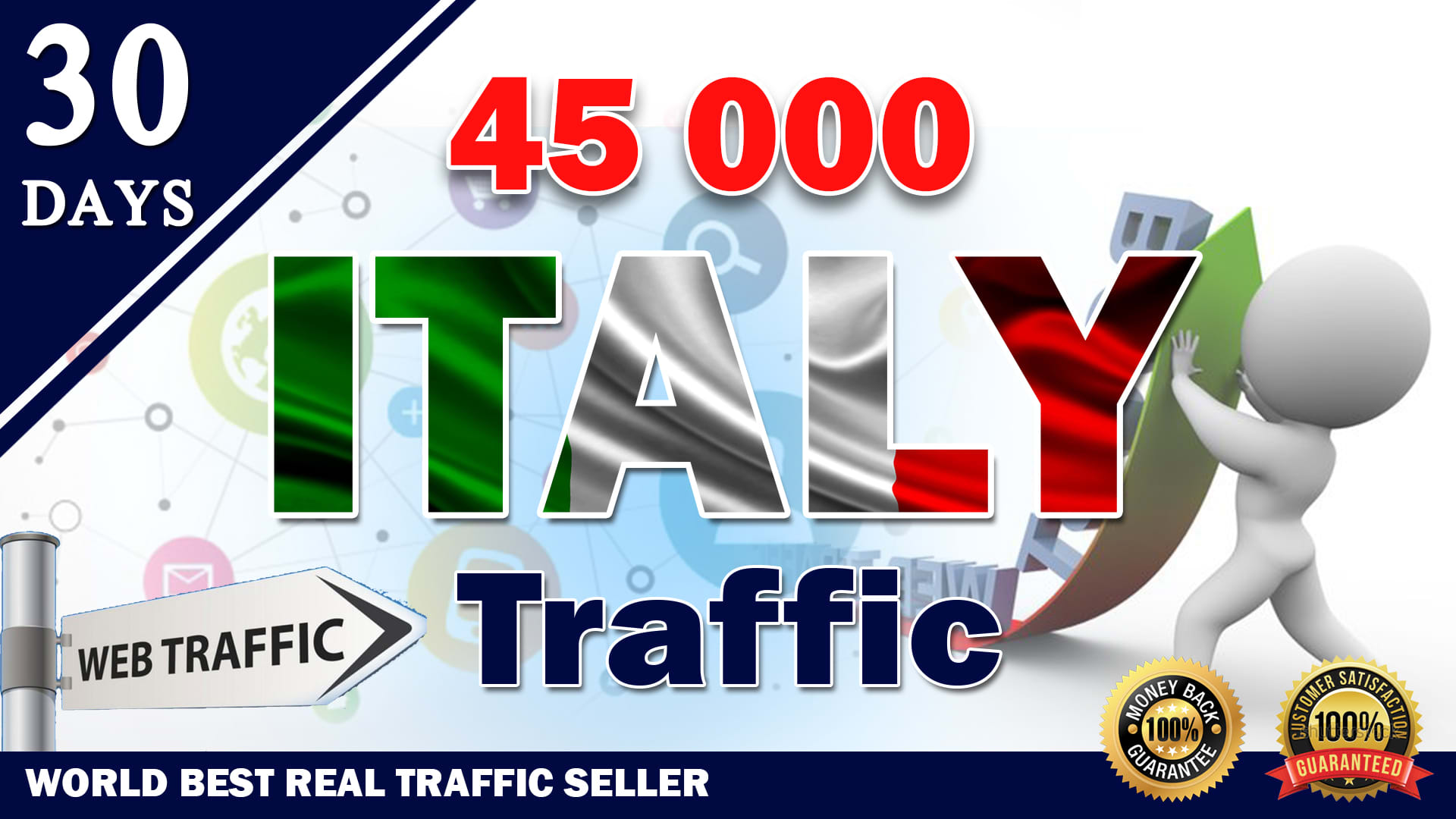 Real Organic Niche Targeted Traffic To your website From Italy for 30 Days
