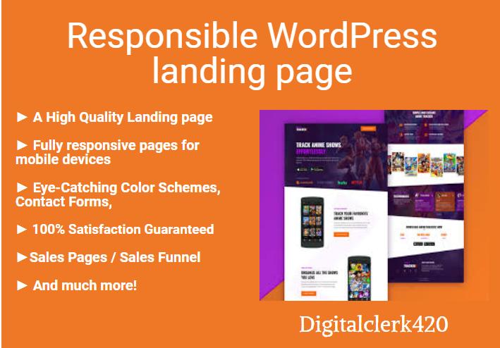 I will design responsible WordPress website or landing page