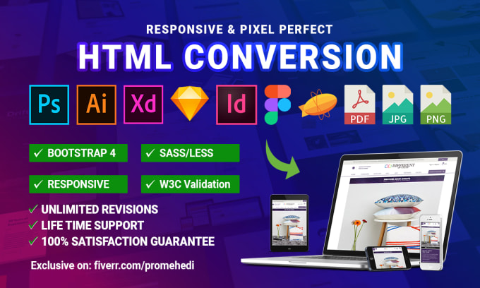 I will do figma,  sketch,  psd,  pdf,  xd to html responsive bootstrap 4.5