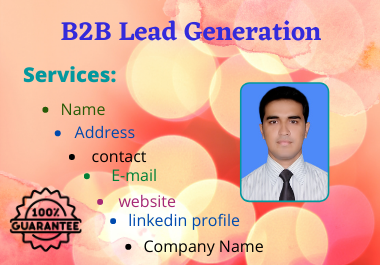 I will do B2B Lead Generation targeted leads and valid info.