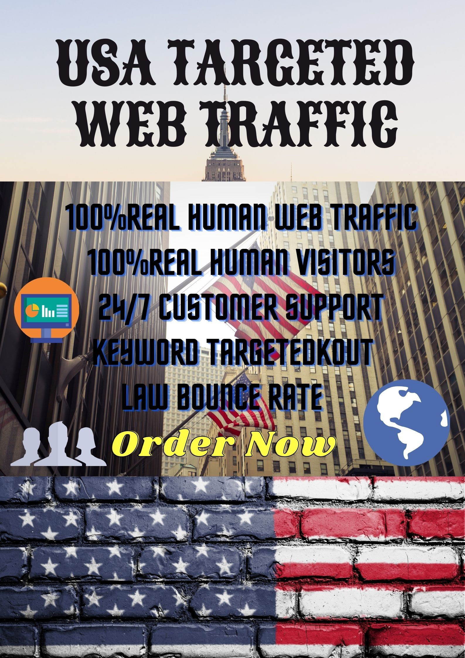 I will bring USA targeted daily real human visitors your web site